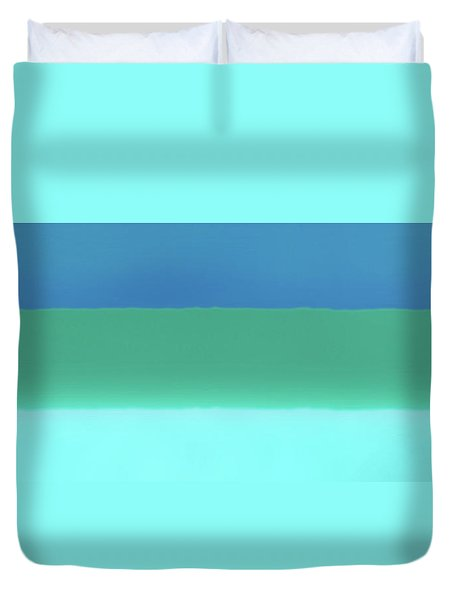 1966 Bands In Blues And Greens Duvet Cover