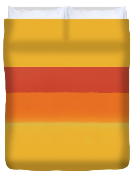 1966 Bands In Red, Orange And Yellow Duvet Cover