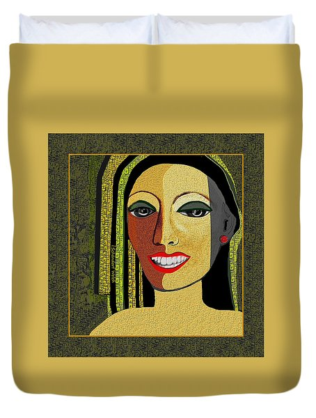 Duvet Cover featuring the digital art 1966 - Lady With Beautiful Teeth by Irmgard Schoendorf Welch
