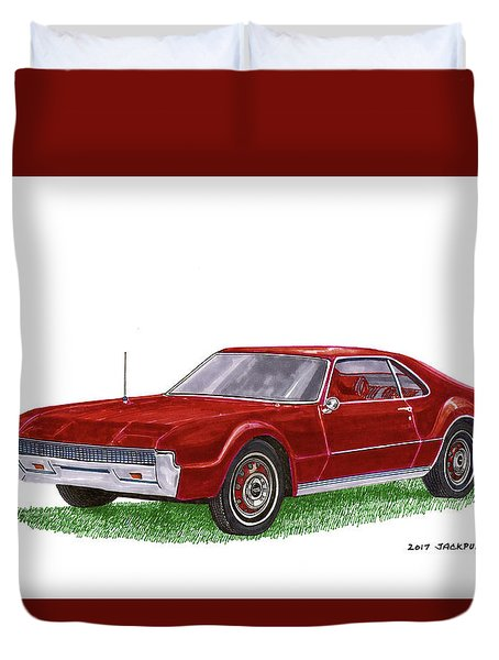 Duvet Cover featuring the painting 1966 Oldsmobile Toronado by Jack Pumphrey