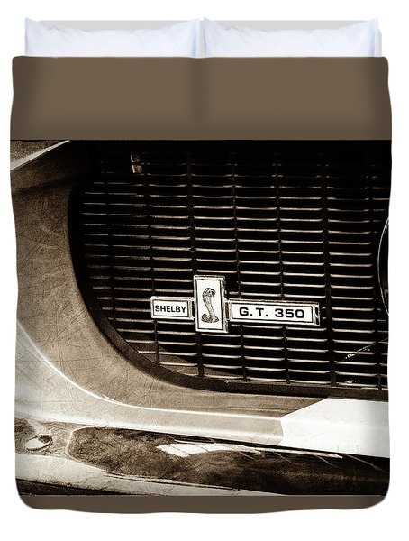 Duvet Cover featuring the photograph 1967 Ford Gt 350 Shelby Clone Grille Emblem -0759s by Jill Reger