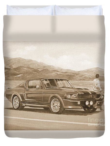 1967 Ford Mustang Fastback In Sepia Duvet Cover
