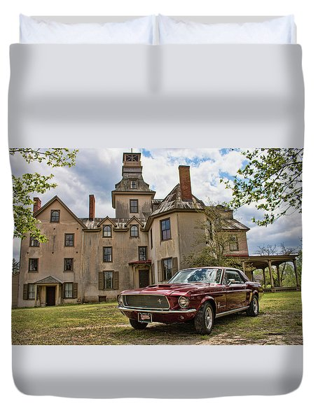 1967 Mustang At The Mansion Duvet Cover