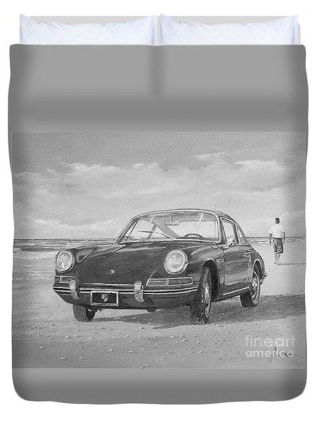 1967 Porsche 912 In Black And White Duvet Cover