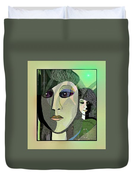 Duvet Cover featuring the digital art 1968 - A Dolls Head by Irmgard Schoendorf Welch