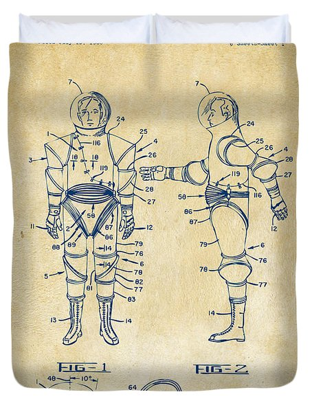 1968 Hard Space Suit Patent Artwork - Vintage Duvet Cover by Nikki Marie Smith