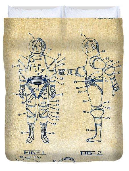 1968 Hard Space Suit Patent Artwork - Vintage Duvet Cover