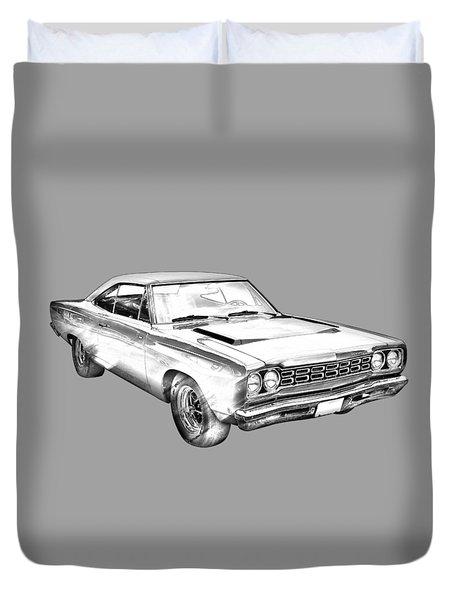 1968 Plymouth Roadrunner Muscle Car Illustration Duvet Cover