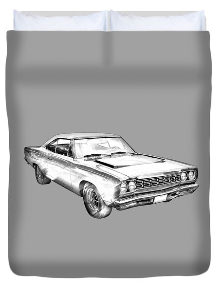 1968 Plymouth Roadrunner Muscle Car Illustration Duvet Cover by Keith Webber Jr