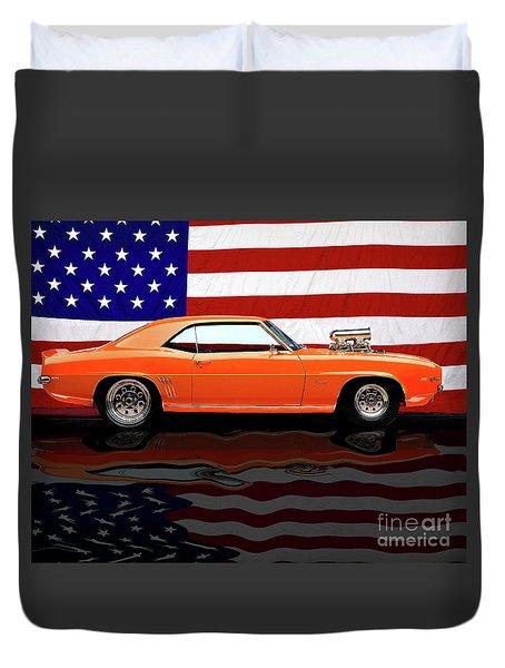 1969 Camaro Tribute Duvet Cover by Peter Piatt