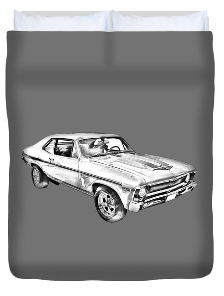 1969 Chevrolet Nova Yenko 427 Muscle Car Illustration Duvet Cover