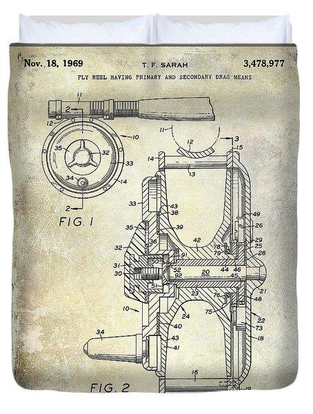 1969 Fly Reel Patent Duvet Cover by Jon Neidert