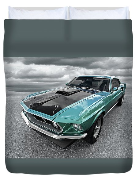 1969 Green 428 Mach 1 Cobra Jet Ford Mustang Duvet Cover