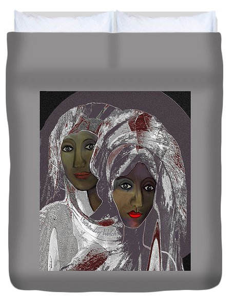 Duvet Cover featuring the digital art 1969 -  White Veils by Irmgard Schoendorf Welch