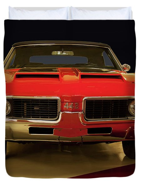 Duvet Cover featuring the photograph 1969 Oldsmobile 442 W-30 by Chris Flees