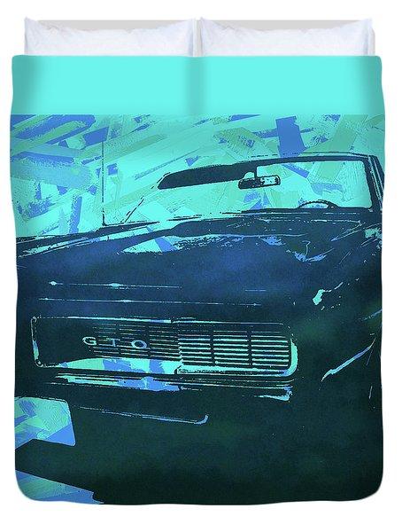 1969 Pontiac Gto Convertible Pop Blue Duvet Cover