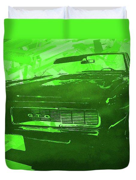 1969 Pontiac Gto Convertible Pop Green Duvet Cover