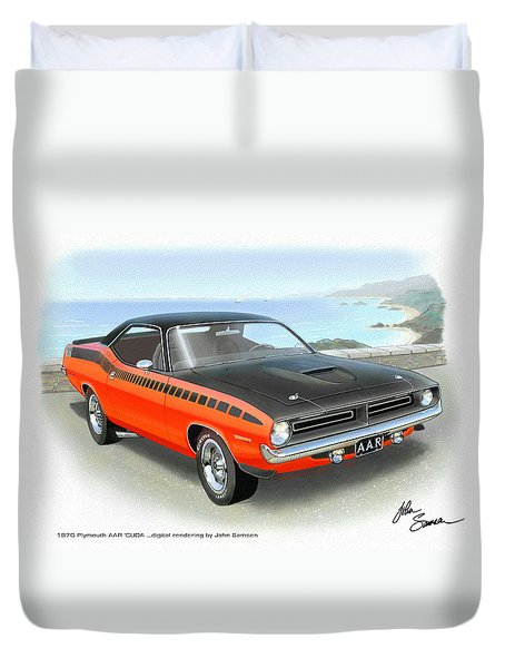 1970 Barracuda Aar  Cuda Classic Muscle Car Duvet Cover