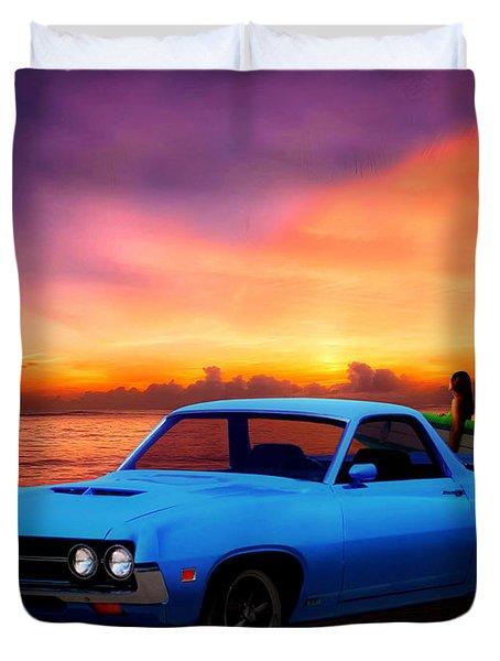 1970 Ranchero Dominican Beach Sunrise Duvet Cover