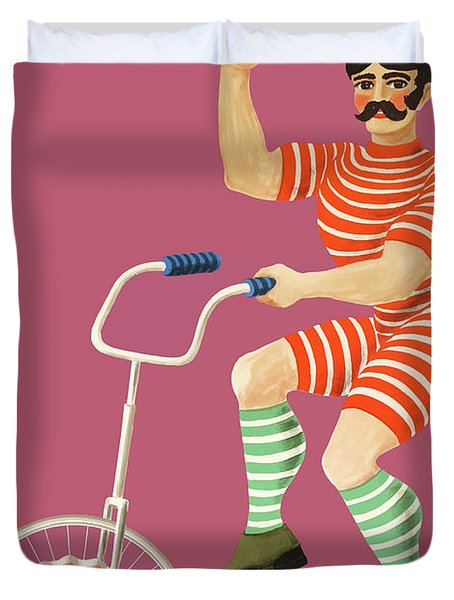 1970 Unicyclist With Bowler Hat Polish Circus Poster Duvet Cover