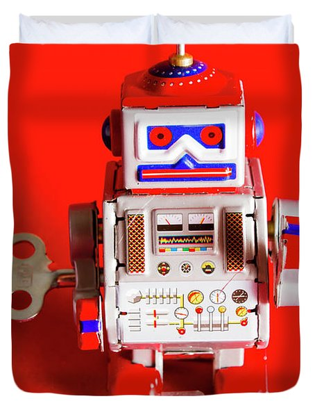 1970s Wind Up Dancing Robot Duvet Cover