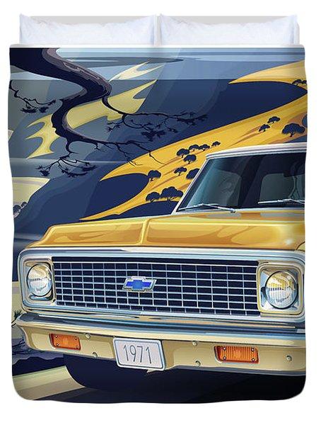 1971 Chevrolet C10 Cheyenne Fleetside 2wd Pickup Duvet Cover