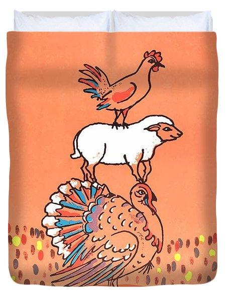 1971 Cyrk Pig Turkey Sheep Chicken Polish Circus Poster Duvet Cover