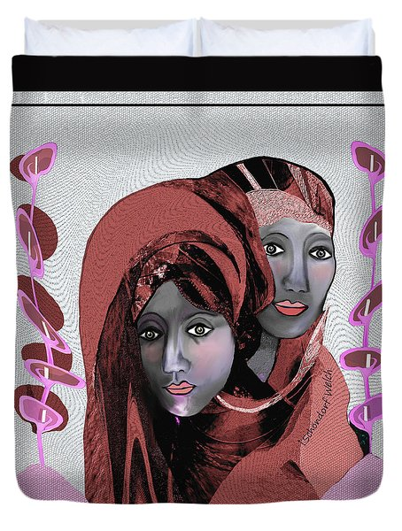 Duvet Cover featuring the digital art 1971- Rosecoloured Portrait 2017 by Irmgard Schoendorf Welch