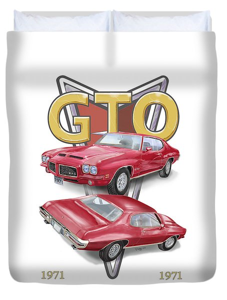 Duvet Cover featuring the digital art 1971 Pontiac Gto by Thomas J Herring