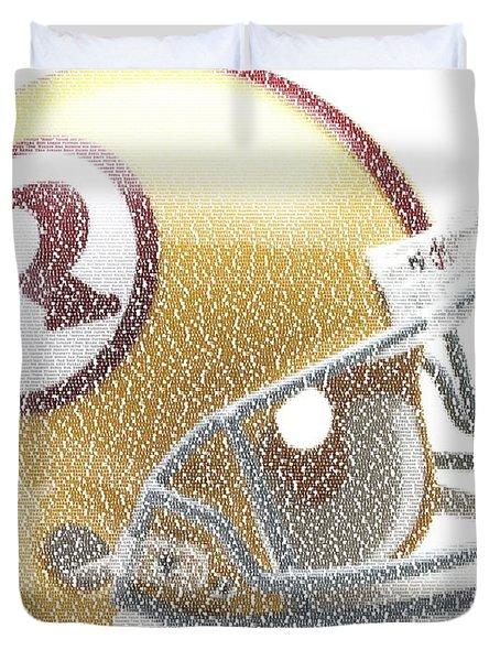 1971 Redskins Helmet Greatest Players Mosaic Duvet Cover by Paul Van Scott