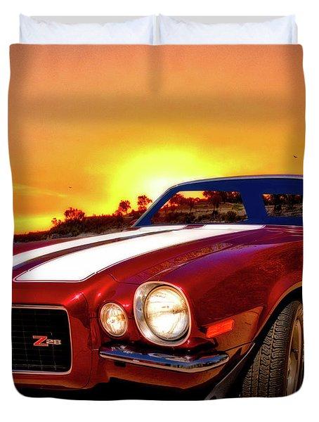 1971 Z28 Camaro Hdr Vivid Remembrance Duvet Cover