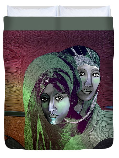 Duvet Cover featuring the digital art 1972 - 0n A Gloomy Day - 2017 by Irmgard Schoendorf Welch