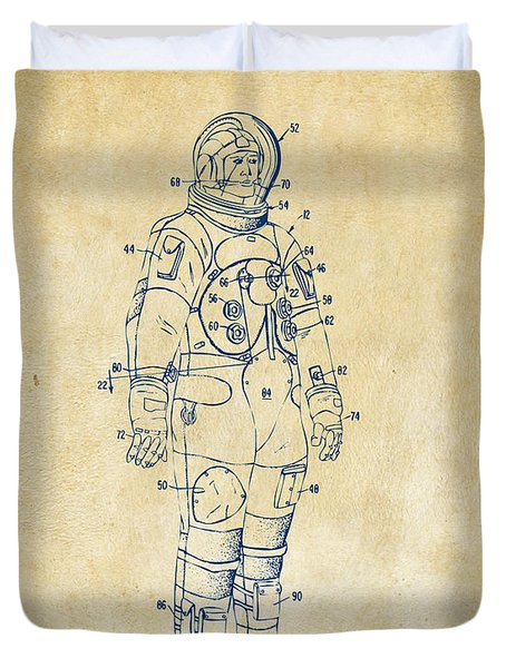 1973 Astronaut Space Suit Patent Artwork - Vintage Duvet Cover by Nikki Marie Smith