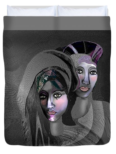 Duvet Cover featuring the digital art 1973 - Exotic 2017 by Irmgard Schoendorf Welch