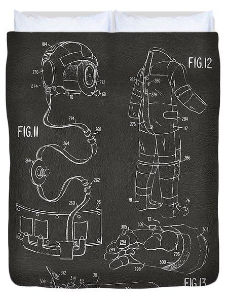 1973 Space Suit Elements Patent Artwork - Gray Duvet Cover