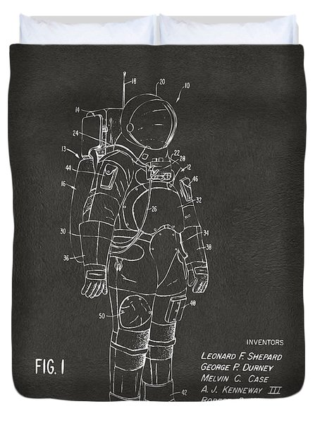 Duvet Cover featuring the digital art 1973 Space Suit Patent Inventors Artwork - Gray by Nikki Marie Smith