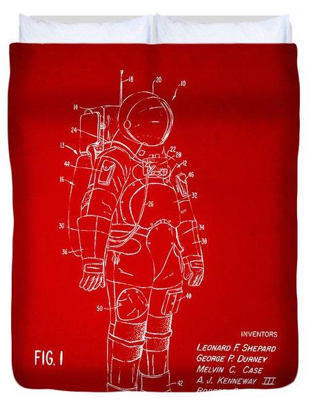 1973 Space Suit Patent Inventors Artwork - Red Duvet Cover