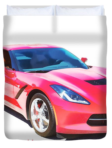 1974 Red Corvette By Chevrolet Painting Print 3480.02 Duvet Cover by M K  Miller