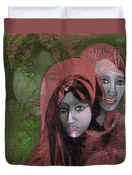 Duvet Cover featuring the digital art 1974 - Women In Rosecoloured Clothes - 2017 by Irmgard Schoendorf Welch
