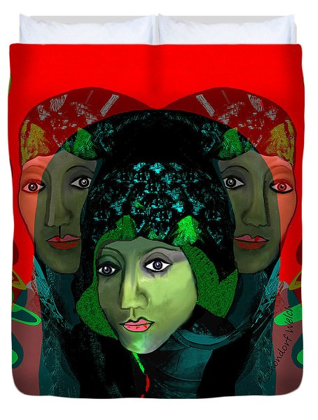 Duvet Cover featuring the digital art 1975 - Mystery Woman by Irmgard Schoendorf Welch