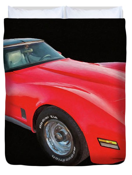 1977 Chevy Corvette T Tops Digital Oil Duvet Cover