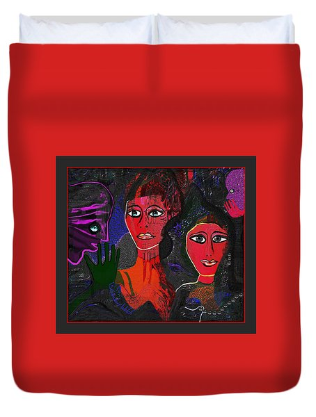 Duvet Cover featuring the digital art 1977 - Faces Red by Irmgard Schoendorf Welch