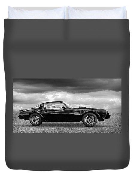 1978 Trans Am In Black And White Duvet Cover