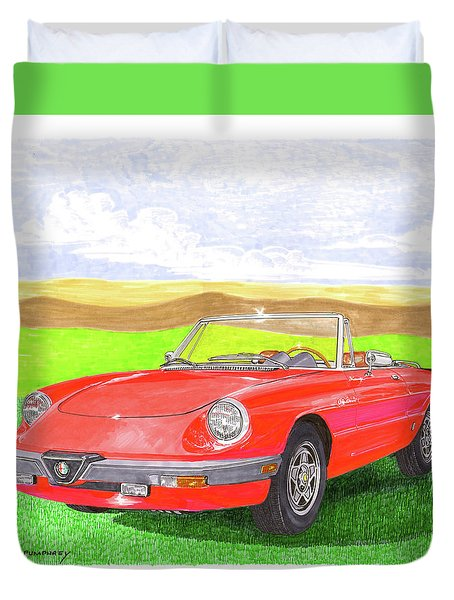 Duvet Cover featuring the painting 1983 Alfa Romero Spider Veloce by Jack Pumphrey