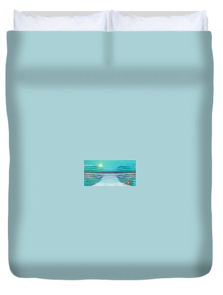 Duvet Cover featuring the digital art 1983 - Blue Waterland -  2017 by Irmgard Schoendorf Welch