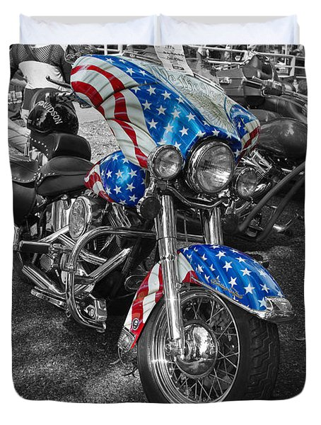 1996 Harley Davidson Heritage Softail Motorcycle We The People American Flag Bike Duvet Cover