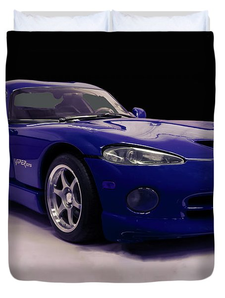 Duvet Cover featuring the digital art 1997 Dodge Viper Gts Blue by Chris Flees