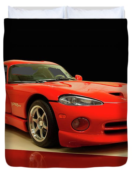 Duvet Cover featuring the digital art 1997 Dodge Viper Gts Red by Chris Flees