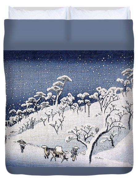 19th C. Snow On Asuka Hill Duvet Cover