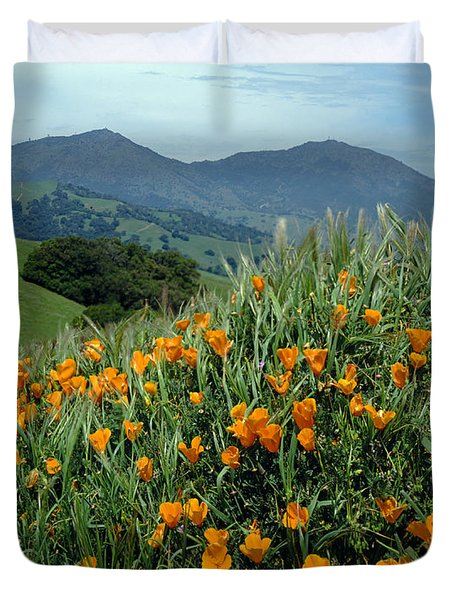 1a6493 Mt. Diablo And Poppies Duvet Cover